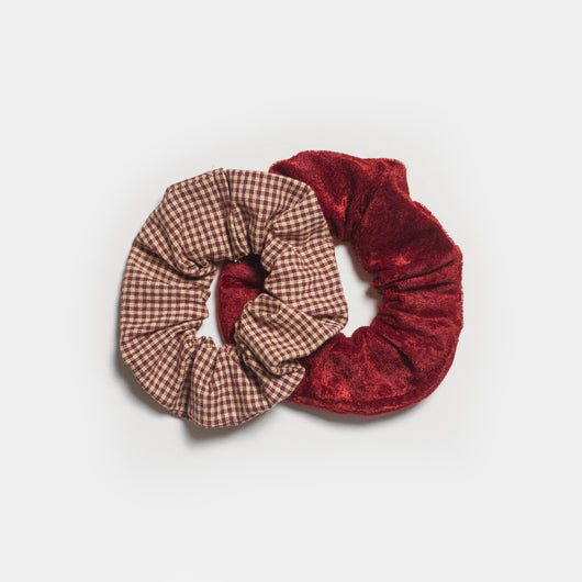 Berry Gingham Scrunchie Set