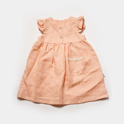 Josefine Flutter Dress in Peach Linen