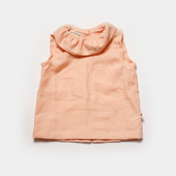 Back Button Petal Tank in Peach Linen