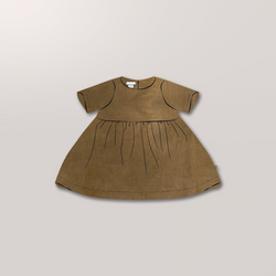 Short Sleeve Charity Dress in Ochre