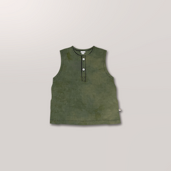 Sleeveless Henley in Juniper
