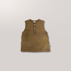 Sleeveless Henley in Ochre