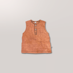 Sleeveless Henley in Sunset