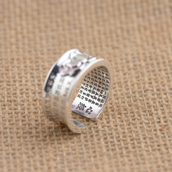 999 Pure Silver Buddhist Sutra Classic Rings (Adjustable) - Concrete N Jungle