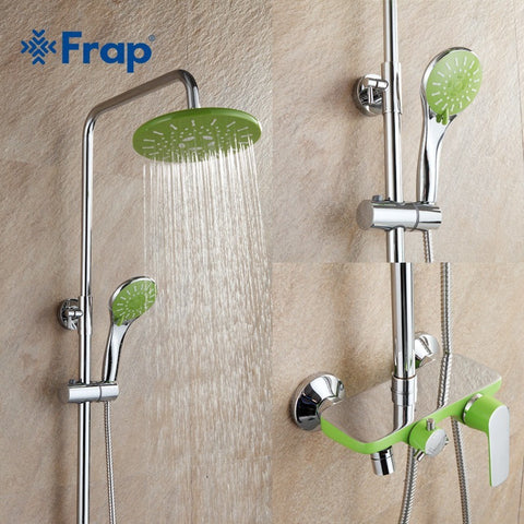 Frap  Apple Green Brass Chrome Bathroom Wall Mounted Shower Set - Concrete N Jungle