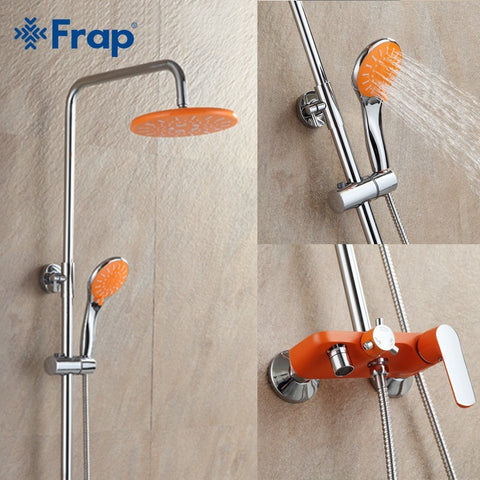 Frap  Orange Brass Chrome Bathroom Wall Mounted Shower Set - Concrete N Jungle