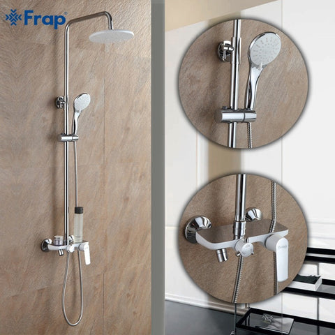Frap  White Brass Chrome Bathroom Wall Mounted Shower Set - Concrete N Jungle