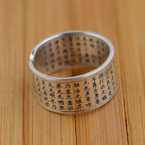 925 Sterling Silver Jewelry Buddhistic Scriptures Open Ring