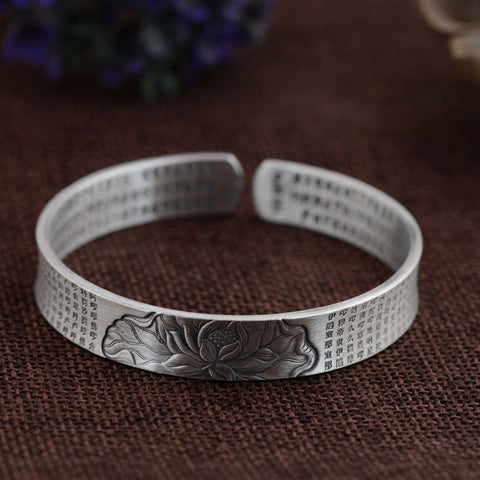 999 Pure Silver Buddhistic Sutra Lotus Pond Bangle
