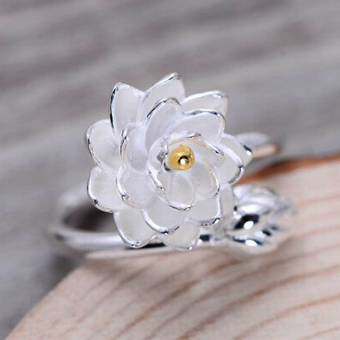 925 Sterling Silver Lotus Flower Opening Rings