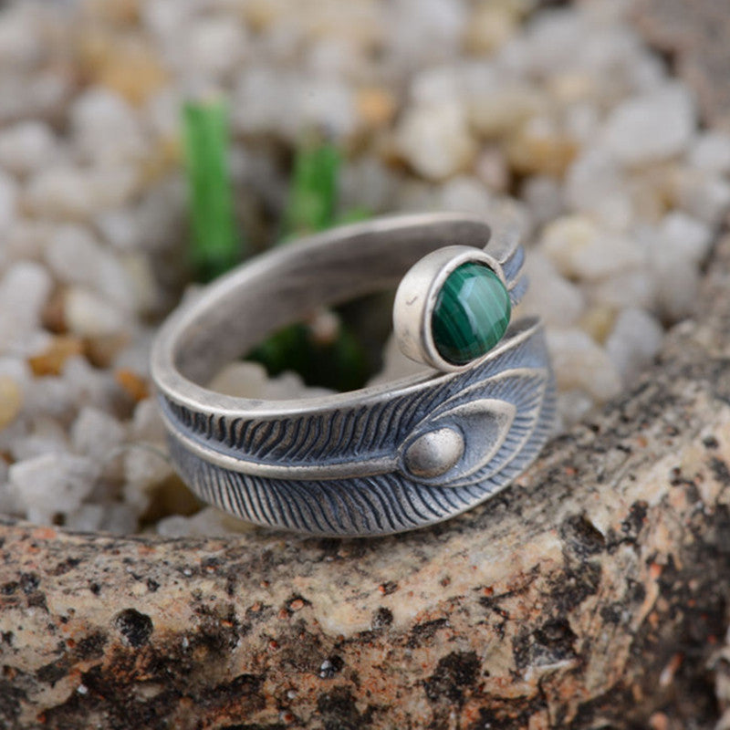 Sterling Silver Feather Open Ring with Malachite
