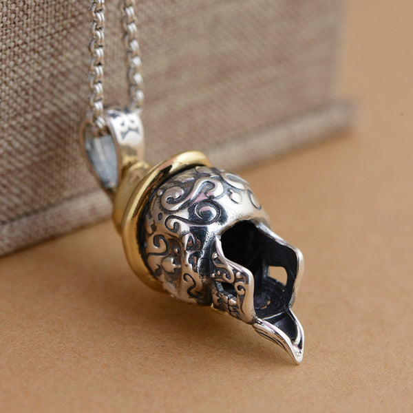 925 Sterling Silver Punk Skull with a Hat Pendant - Concrete N Jungle