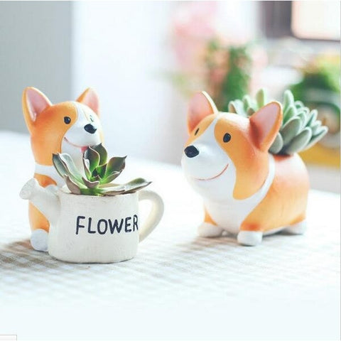 Creative Kawaii Handmade Resin Corgi Garden Pots Planters - Concrete N Jungle