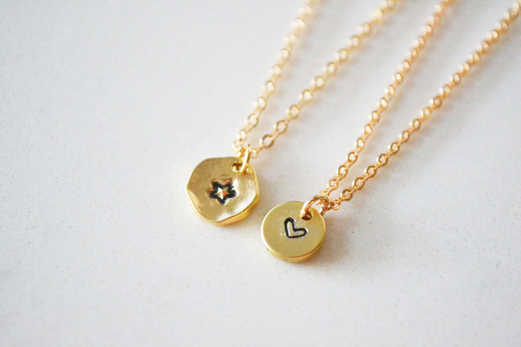 Tiny Star / Heart Stamped Necklace