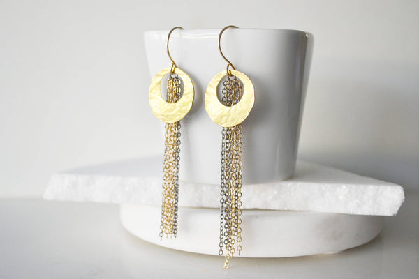 Open Circle Tassel Earrings