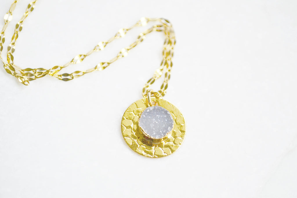 Druzy Bezel Necklace