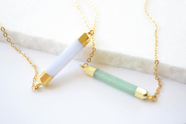 Opal Bar Necklace Gold