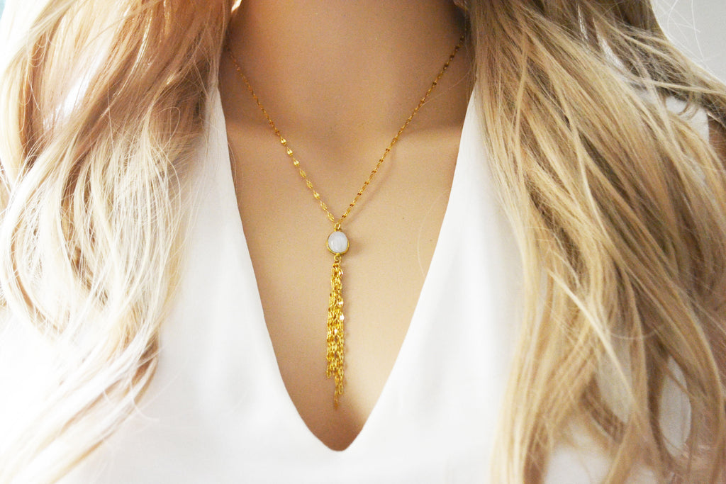 Shimmery Moonstone Lariat Necklace