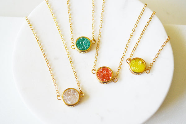 Circle Druzy Necklace