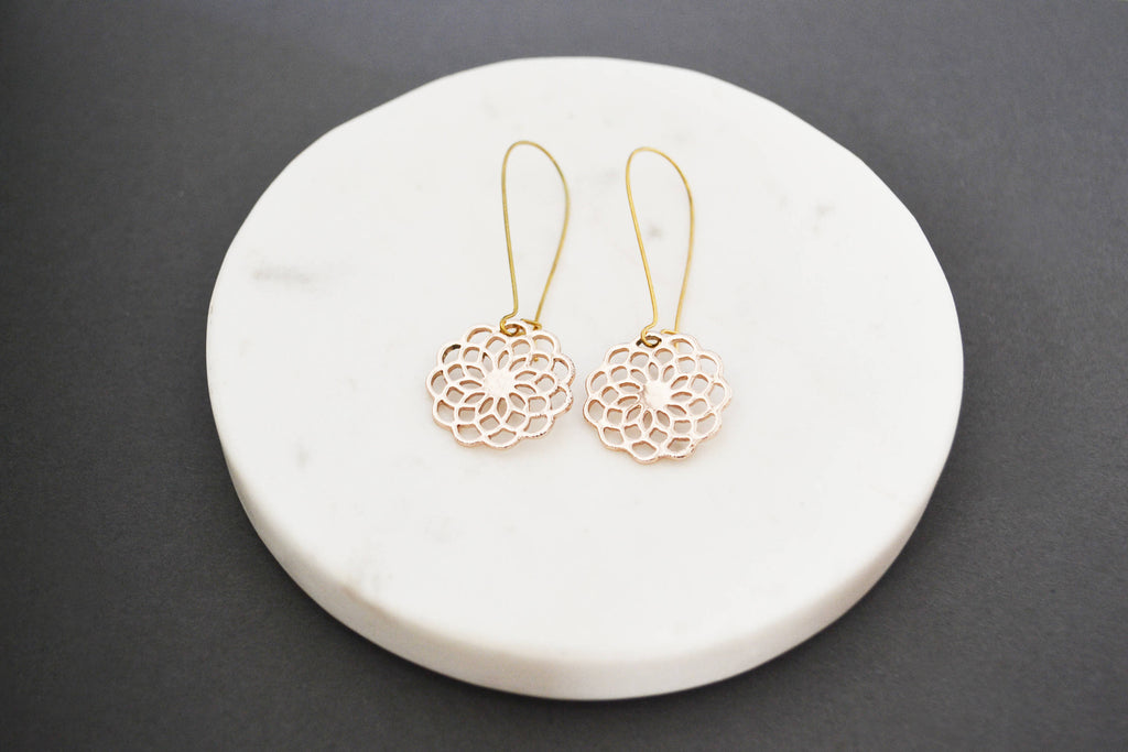 Filigree Flower Rose Gold Earrings