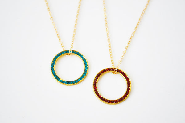 Crystal Pave Circle Necklace