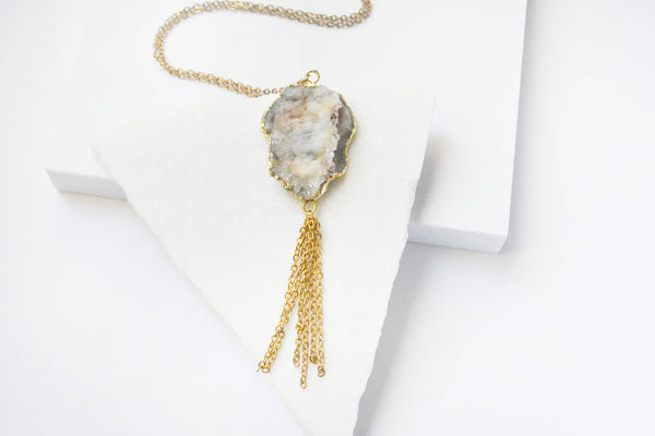 Raw Agate Stone Tassel Long Necklace