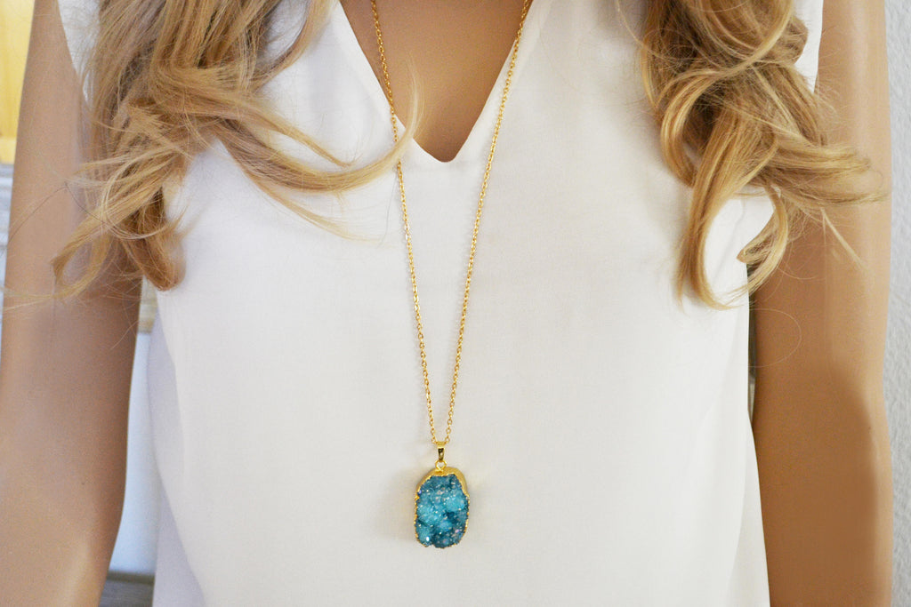 Raw Aqua Druzy Necklace