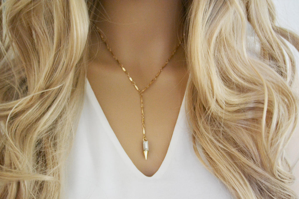 Y Crystal Lariat Necklace