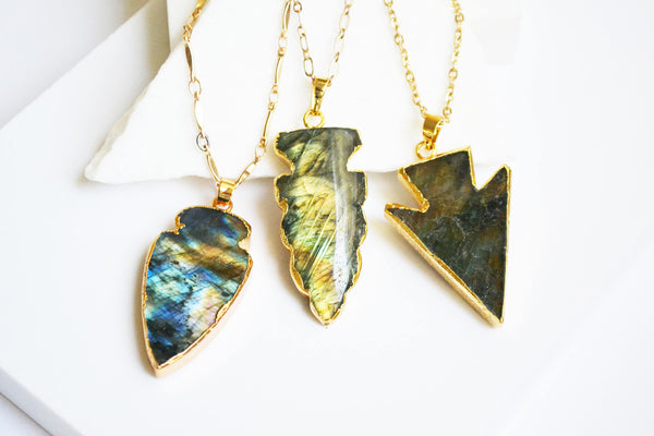 Labradorite Arrowhead Necklaces