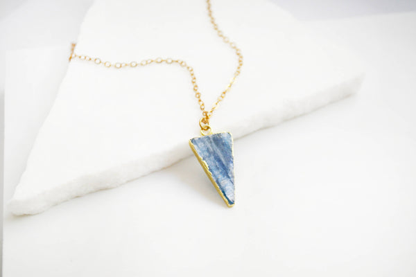 Blue Kyanite Triangle Necklace