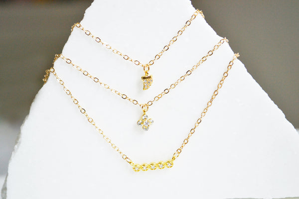 Crystal Pave/Dainty Gold Necklaces