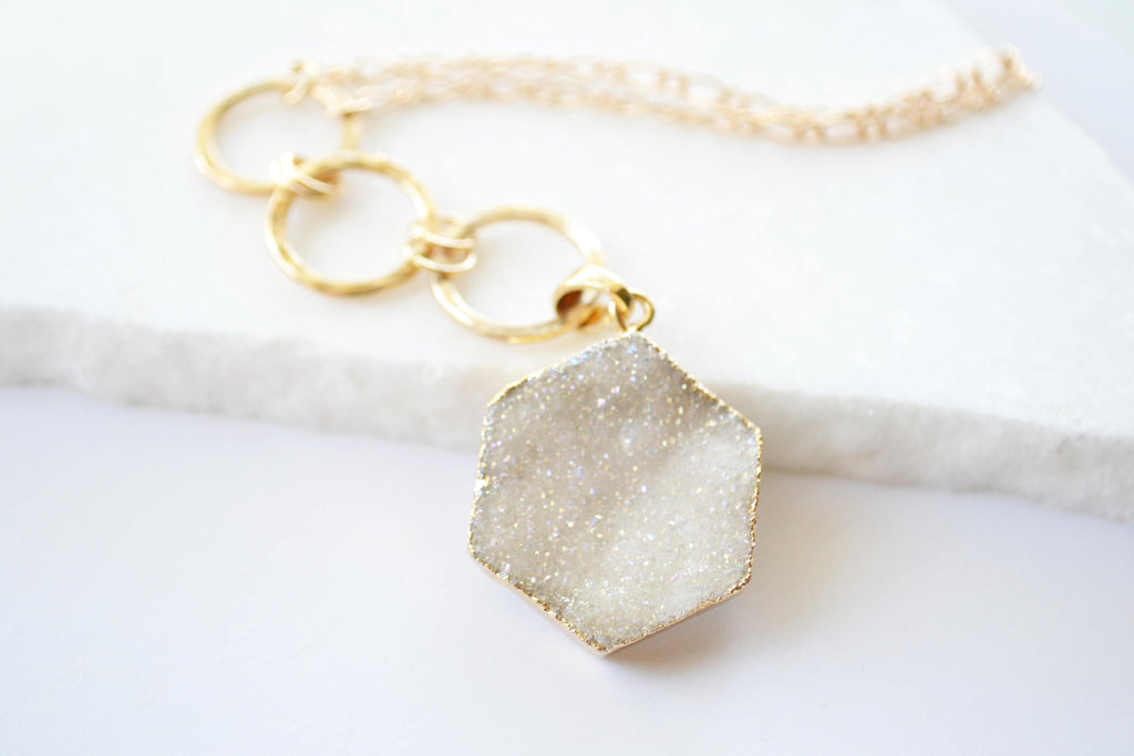 Long Gold Druzy Necklace