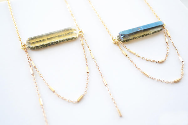 Gold Raw Quartz Bar Necklace