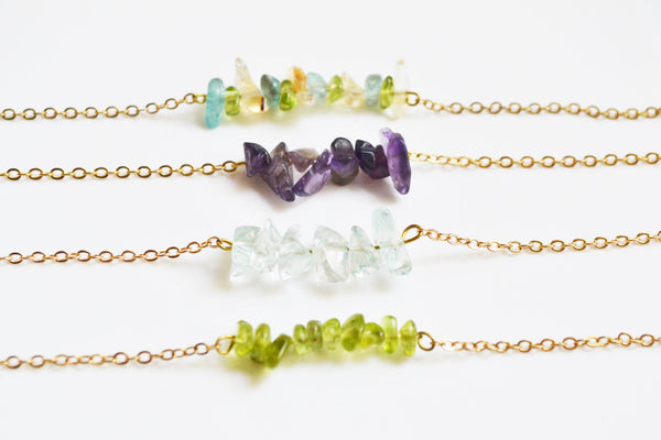 Raw Stone Crystal Bar necklace