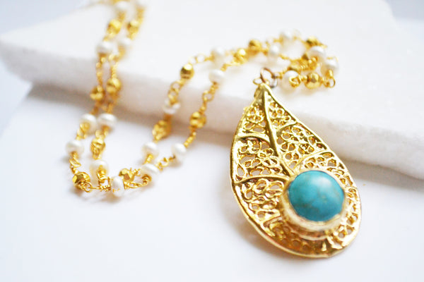 Turquoise Filigree Leaf Necklace
