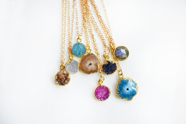 Gemstone Druzy Necklace