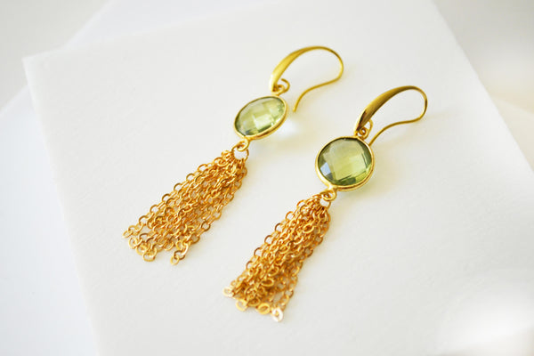 Green Quartz Tassel Earrings