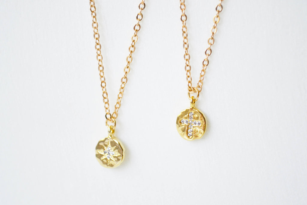 Tiny Gold & Crystal Pave Necklace