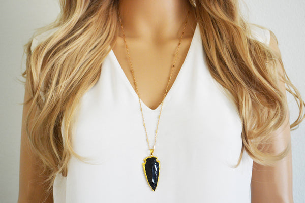 Black Quartz Arrowhead Necklace
