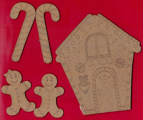 Gingerbread House Chipboard 5 Piece Set