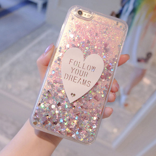 3D Love Bling Dynamic Liquid Glitter Case