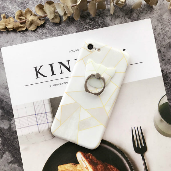 Geometric Case With Ring Grip PopSocket