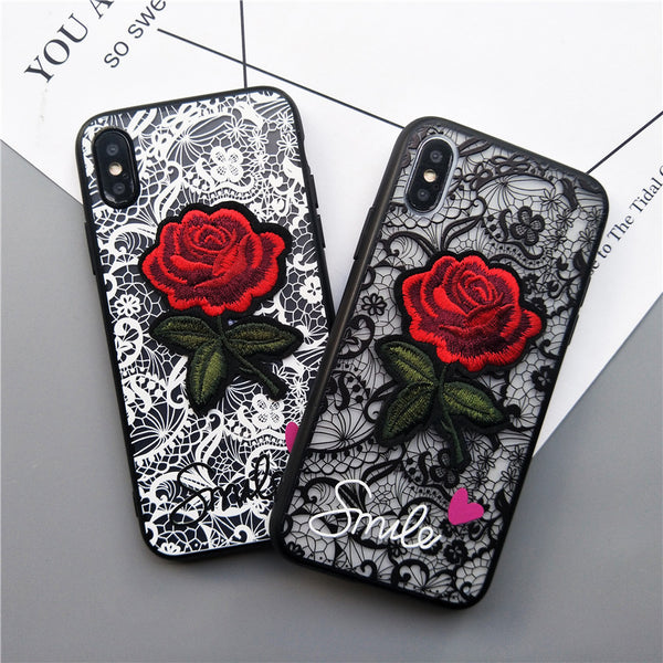 new style 3a594 0b8de Retro Red Flower Case