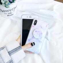 Fashion Marble Texture Case With PopSocket