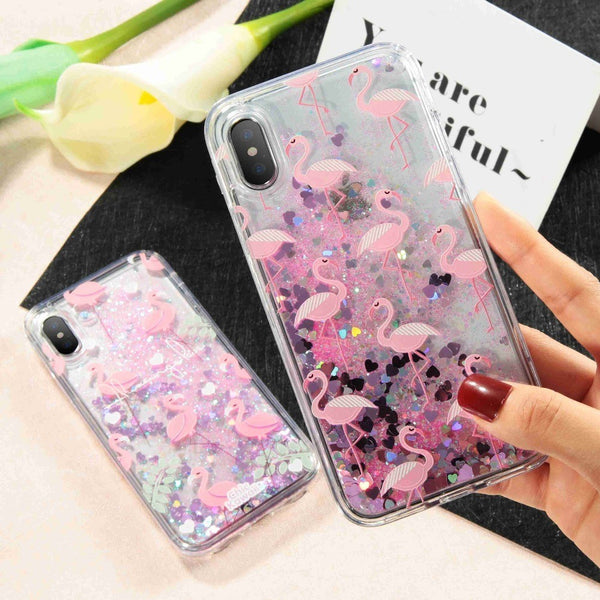 Flamingo Case with Quicksand Glitter