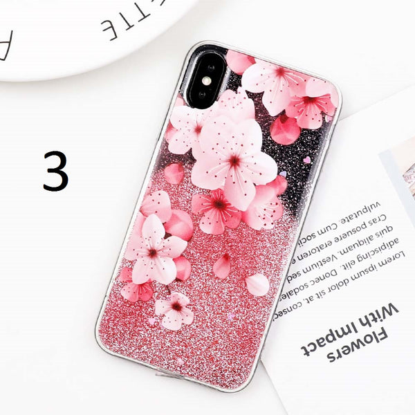 Flower Case with Quicksand Glitter