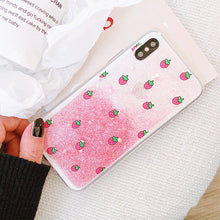 Cute Strawberry Case + Glitter Powder