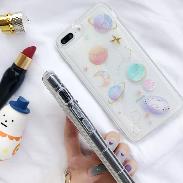 Cute Planet Case with Quicksand Glitter
