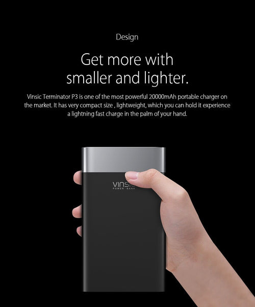 Vinsic Terminator P3 20000mAh Power Bank QC3.0 Quick Charge 2.4A Dual Output with Type C Port For Samsung, iPhone, Xiaomi