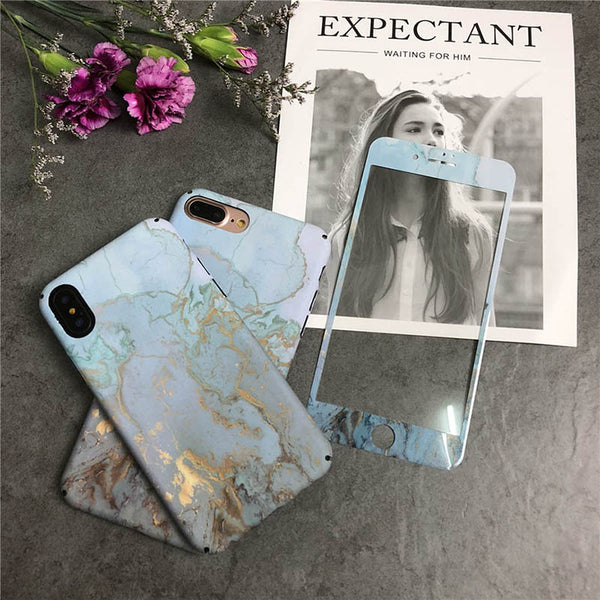 Full Glossy Marble Case With Screen Protector